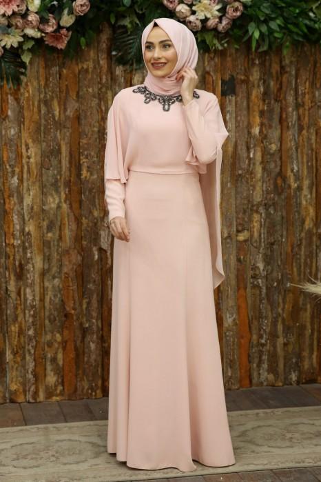 SALMON COLOR EVENING DRESS