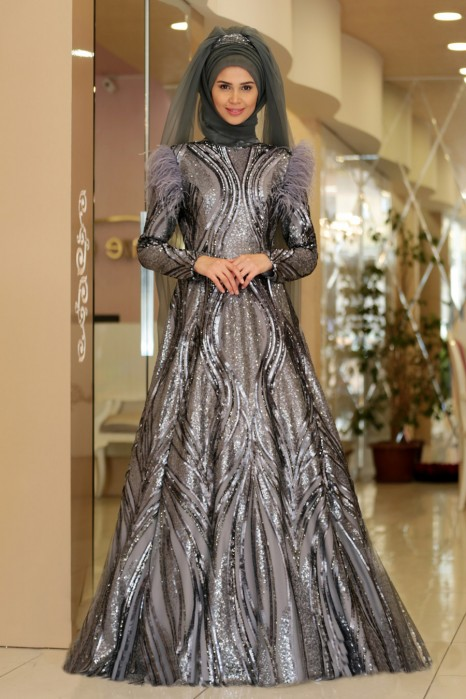 GREY EVENING DRESS