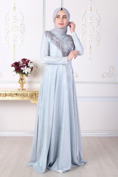 SILVERY ICE BLUE EVENING DRESS