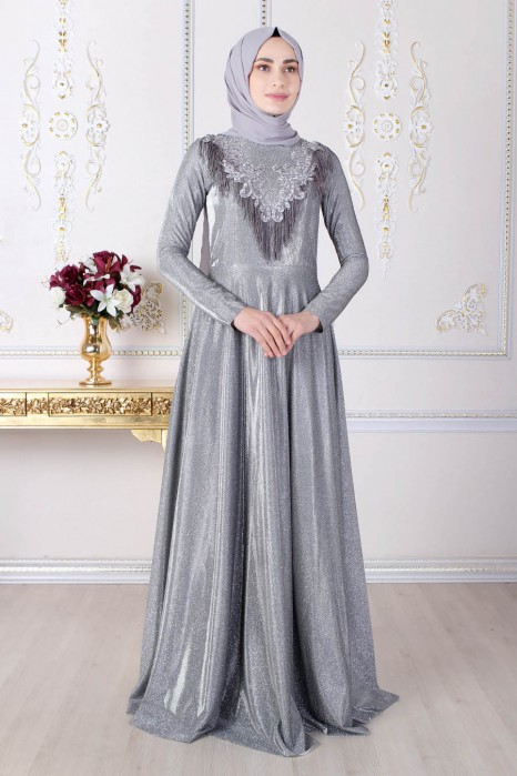 SILVERY ANTHRACITE COLOR EVENING DRESS