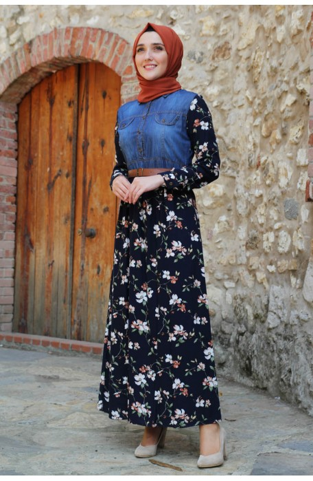 FLOWER PATTERNED NAVY BLUE DRESS