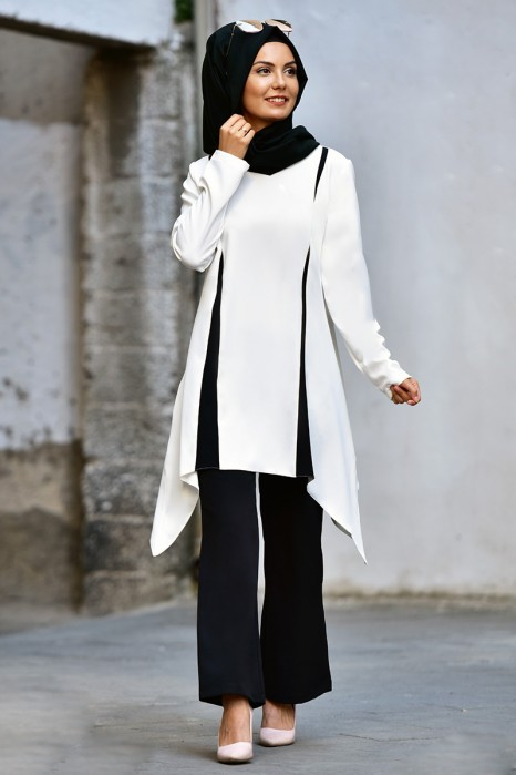 WHITE TUNIC AND BLACK PANT SUIT
