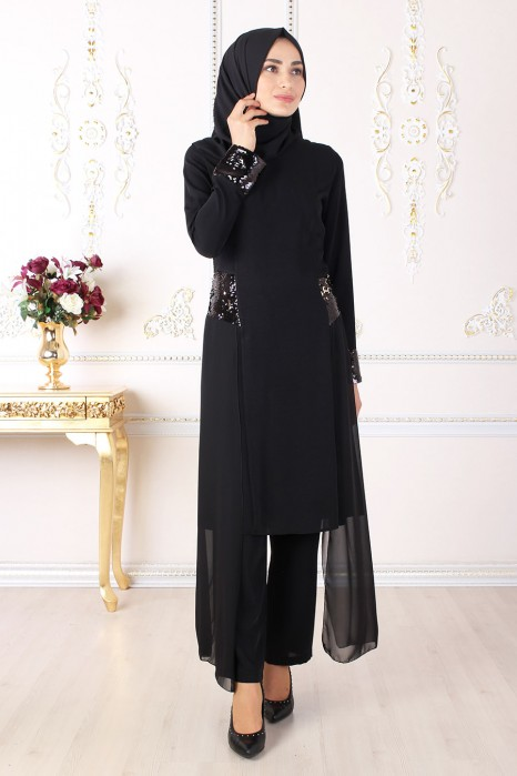 SEQUIN DETAILED BLACK TUNIC AND PANT SUIT