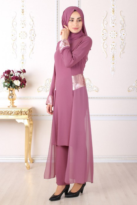 SEQUIN DETAILED ROSE COLOR TUNIC AND PANT SUIT