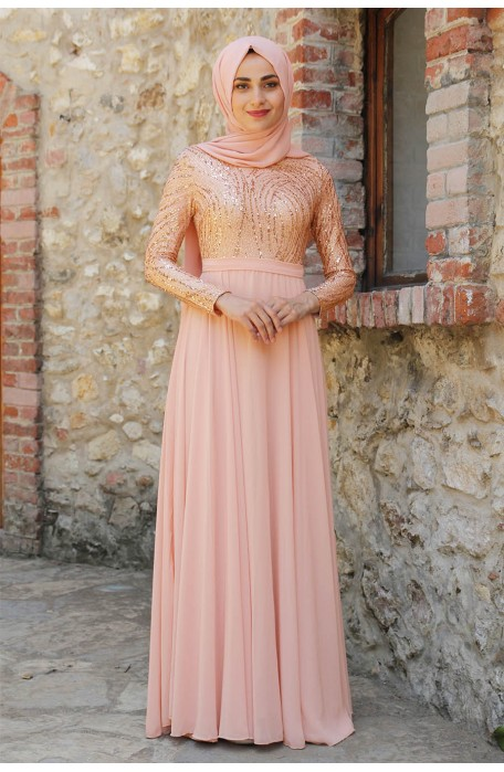 SEQUIN DETAILED SALMON COLOR EVENING DRESS