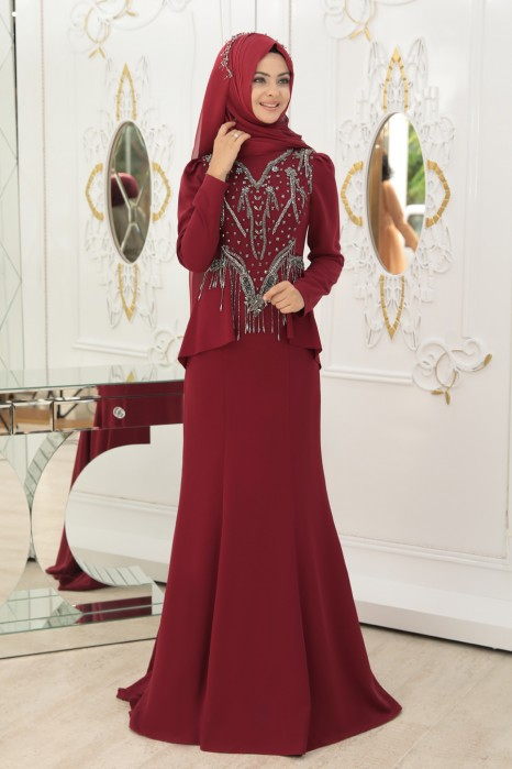 CLARET RED EVENING DRESS