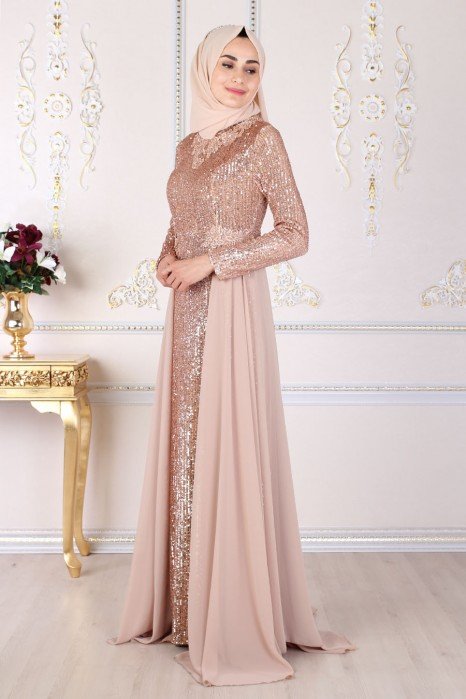 SEQUIN DETAILED COPPERTONE EVENING DRESS
