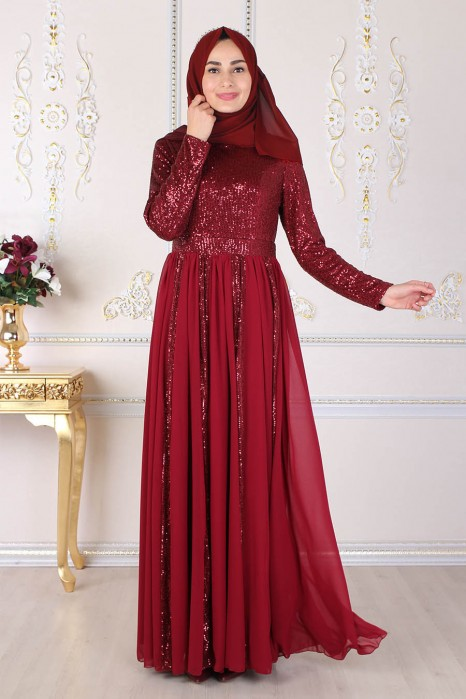 SEQUIN DETAILED CLARET RED EVENING DRESS