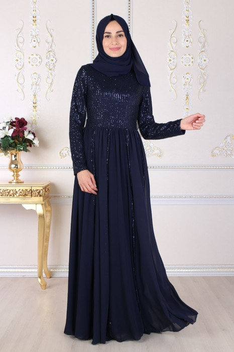 SEQUIN DETAILED NAVY BLUE EVENING DRESS