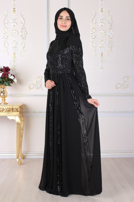 SEQUIN DETAILED BLACK EVENING DRESS