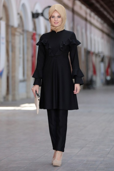 Black Tunic And Pant Suit