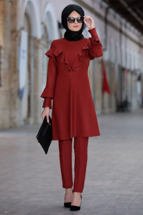 Brick Color Tunic And Pant Suit