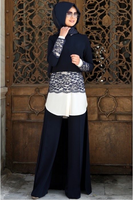 Navy Blue Tunic And Pant Suit