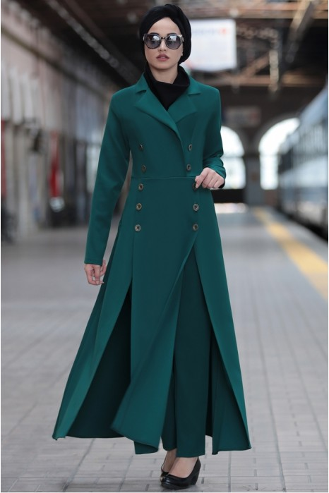 Green Coat And Pant Suit