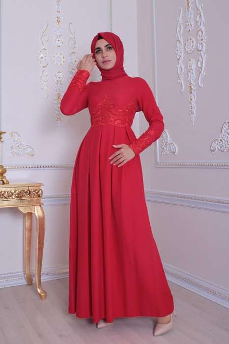 Lace Red Evening Dress