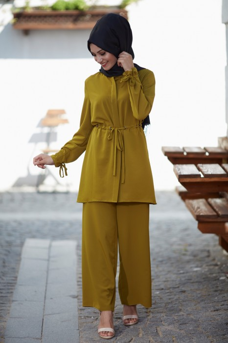 Oil Green Tunic And Pant Suit
