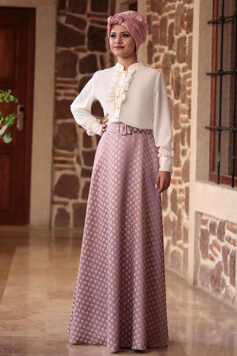 Fuchia Blouse And Rose Color Skirt