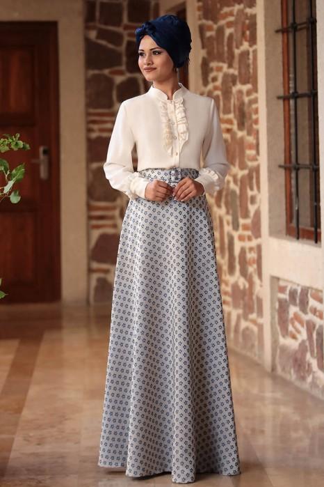 Fuchia Blouse And Blue Skirt