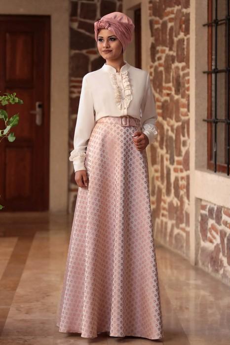 Fuchia Blouse And Powder Pink Skirt