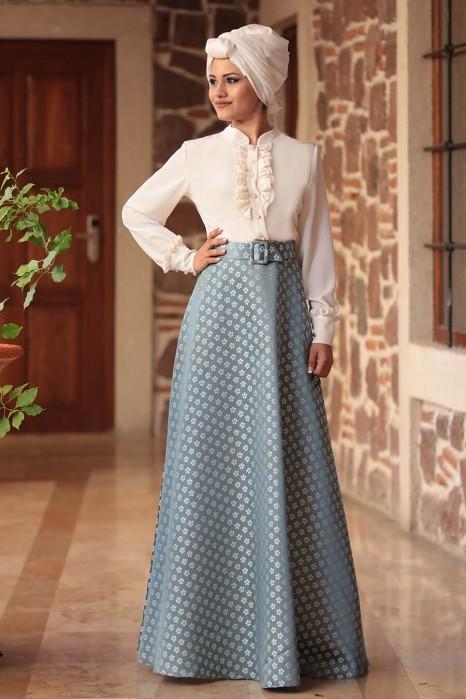 Fuchia Blouse And Petroleum Skirt