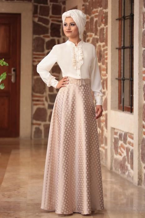 Fuchia Blouse And Vison Color Skirt