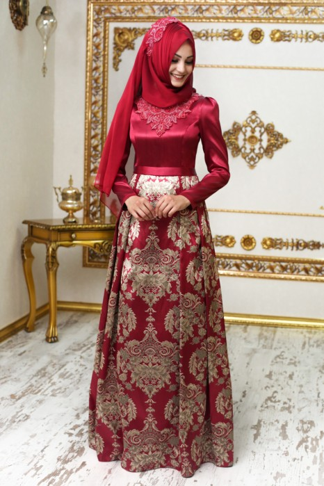 Endam Claret Red  Color Evening Dress