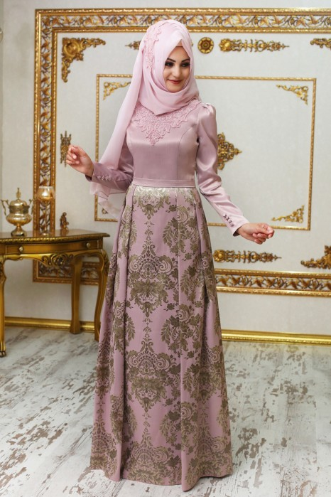 Endam Pink Color Evening Dress