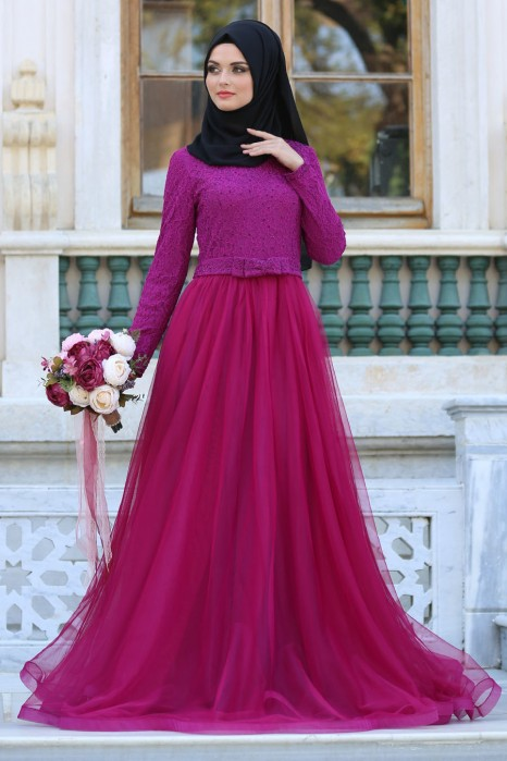 FUCHSIA EVENING DRESS