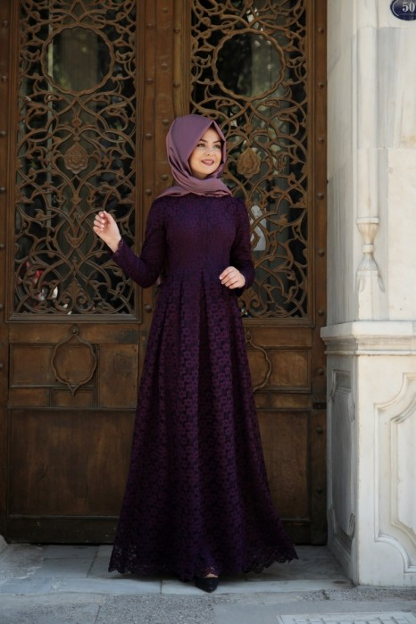 Plum Color Laced Dress