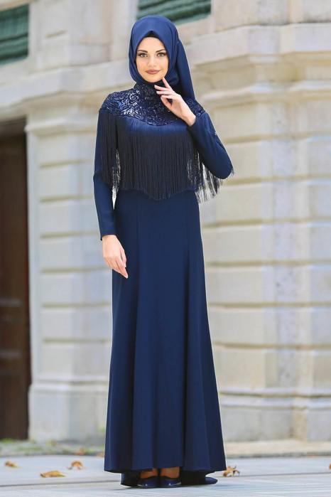 NAVY BLUE EVENING DRESS