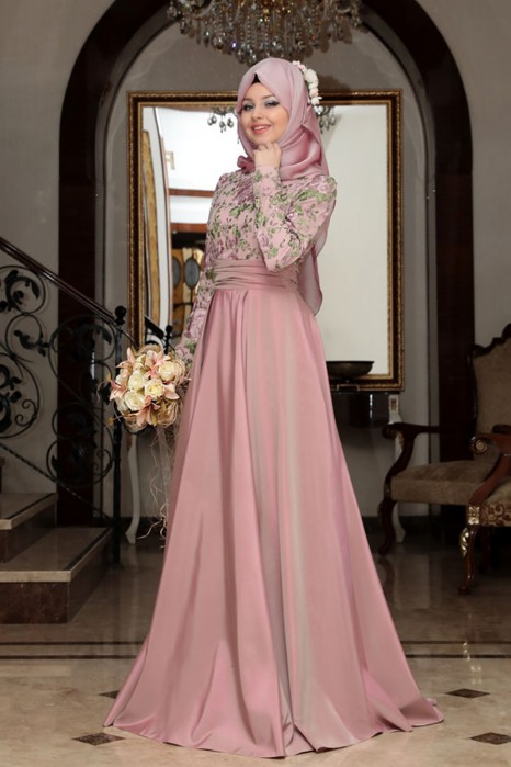 ROSE COLOR EVENING DRESS