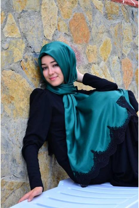 Silk Looking Dark Green Laced Shawl