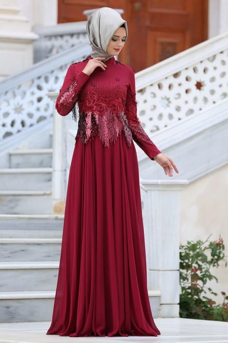 CLARET RED EVENING DRESS