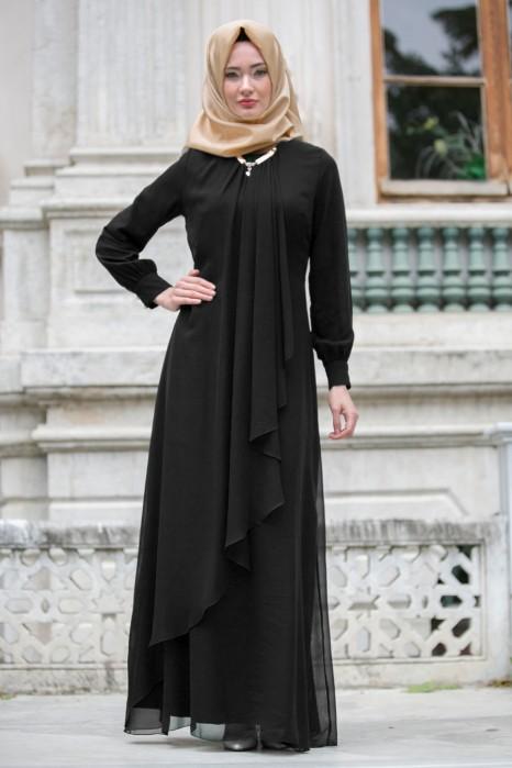 Lace Detailed Black Evening Dress