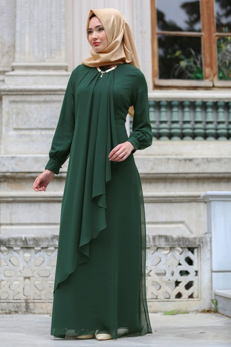 Lace Detailed Green Evening Dress