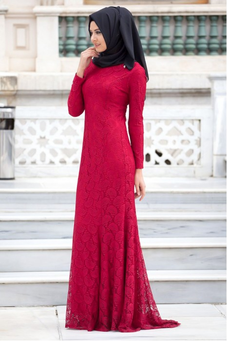 LACED CLARET RED DRESS