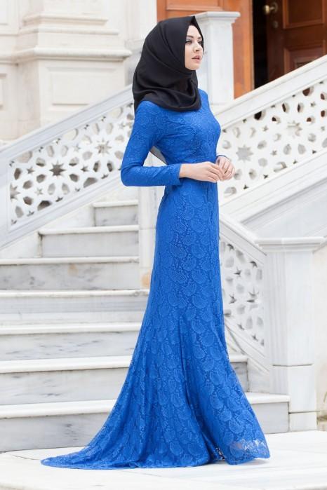 LACED SAX BLUE DRESS