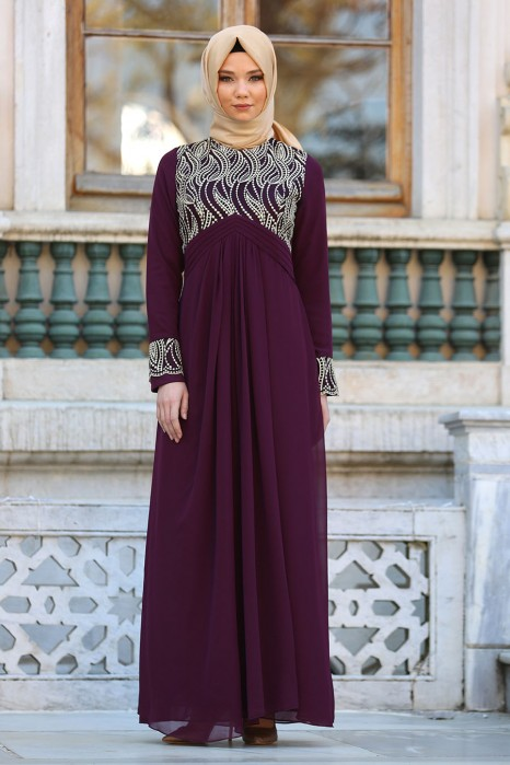 PLUM COLOR EVENING DRESS