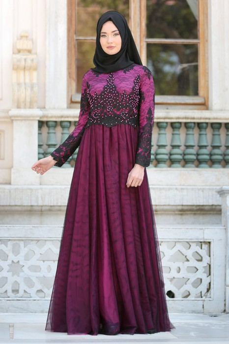 PEARL DETAILED FUCHSIA EVENING DRESS