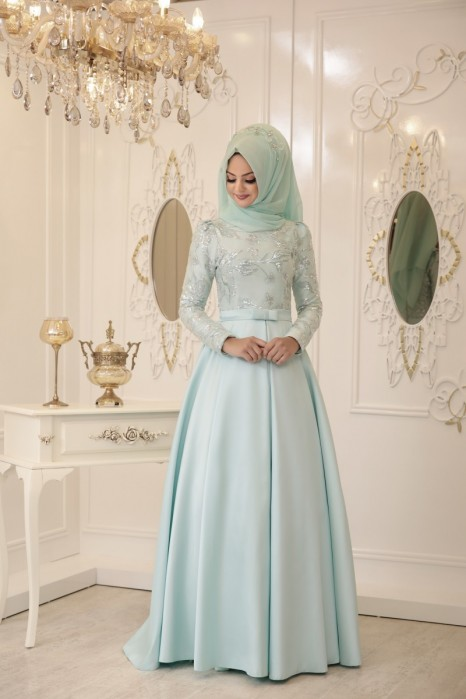 BUSRA MINT EVENING DRESS