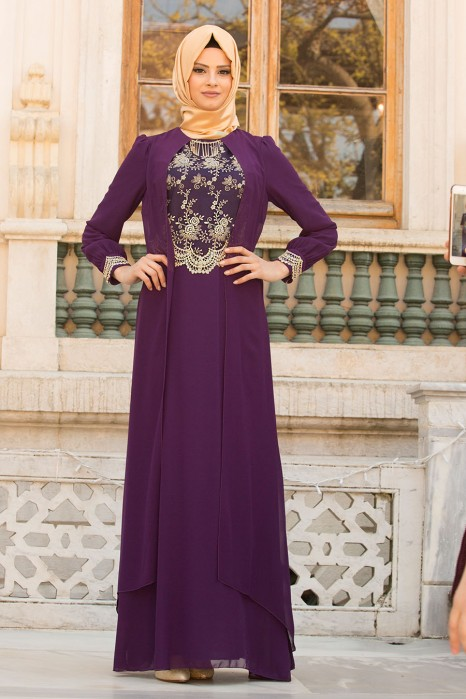 Lace Processed Necklace Purple Dress