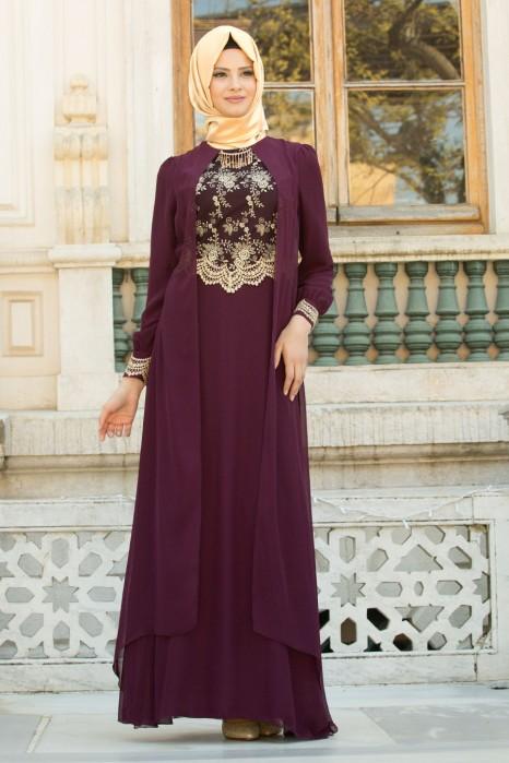 Lace Processed Necklace Plum Dress