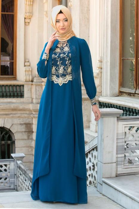 Lace Processed Necklace Petrolium Blue Dress