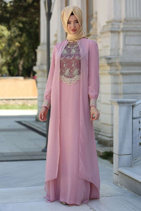 Lace Processed Necklace Powder Dress
