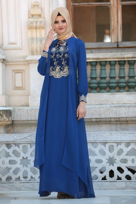 Lace Processed Necklace Sax Blue Dress