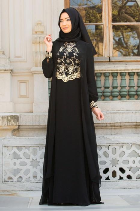 Lace Processed Necklace Black Dress