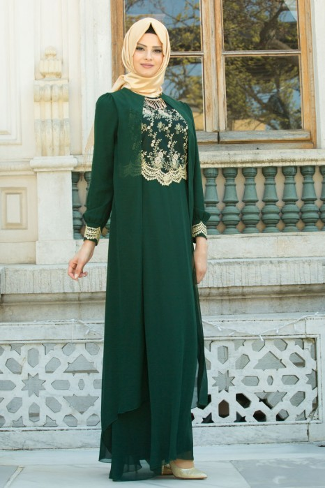 Lace Processed Necklace Green Dress