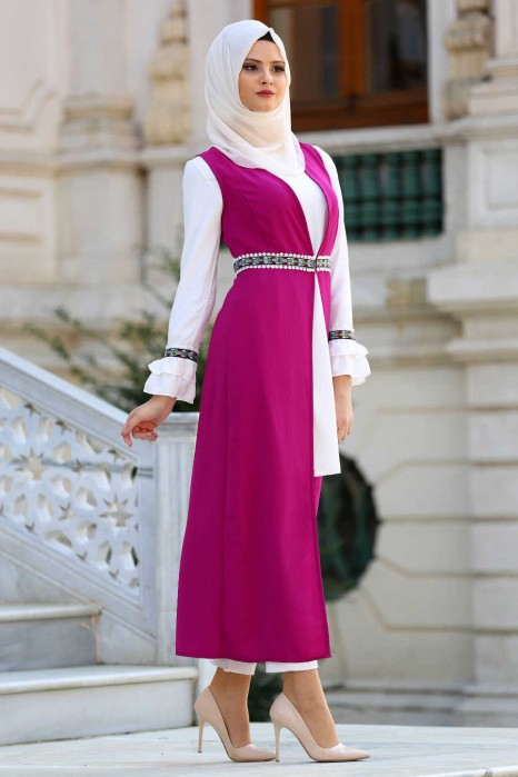 FUCHSIA TUNIC AND VEST SUIT