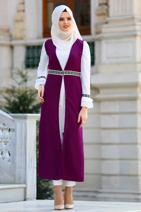 PURPLE TUNIC AND VEST SUIT