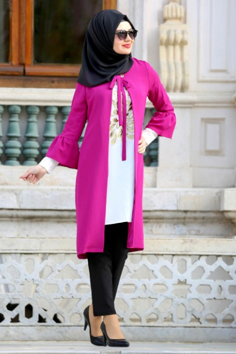 FUCHSIA TUNIC AND CARDIGAN